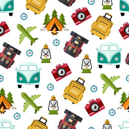 Seamless Pattern Flat Design Travellers