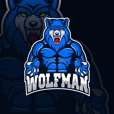 Wolfman mascot gaming logo esport