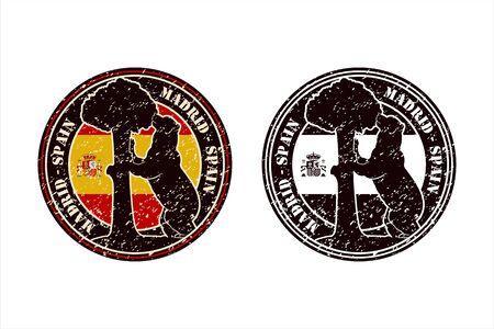 Madrid Spain Stamp Travel Design Vector Logo Logo