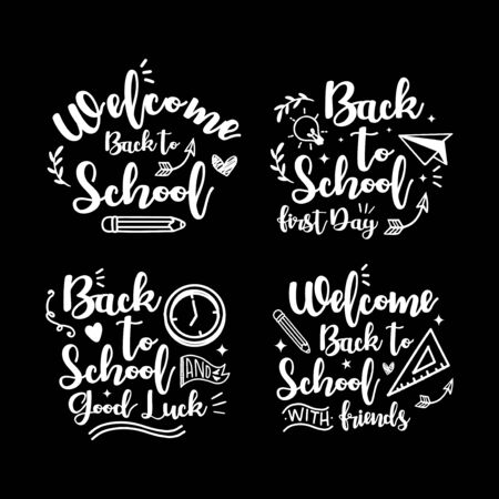 Welcome back to school lettering vector design collection