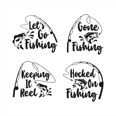 Lettering Fishing Logo Vector Design Collection