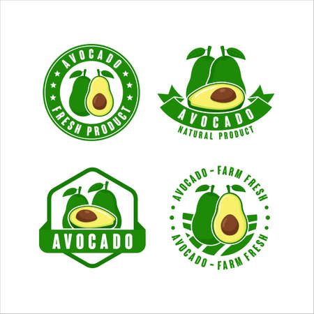 Avocado farm fresh natural product label collection Collection Vettoriali