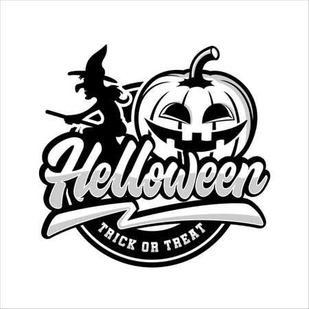 Happy Helloween trick or tread design logo