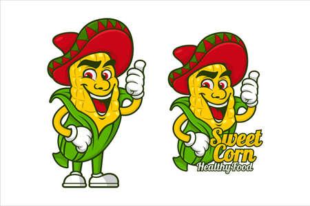 Sweetcorn healthy food mascot vector design Vektorgrafik