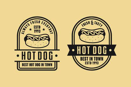 Hot dog vector design vintage logo