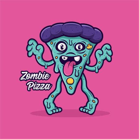 Zombie pizza vecor design logo