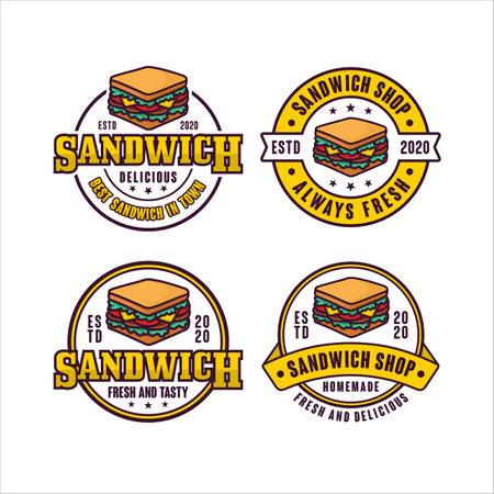 Sandwich shop badge vector design logo collection Logo