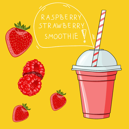 Glass with raspberry strawberry smoothie. Natural bio drink, healthy organic food. Hand drawn vector illustration in doodle style isolated on background.