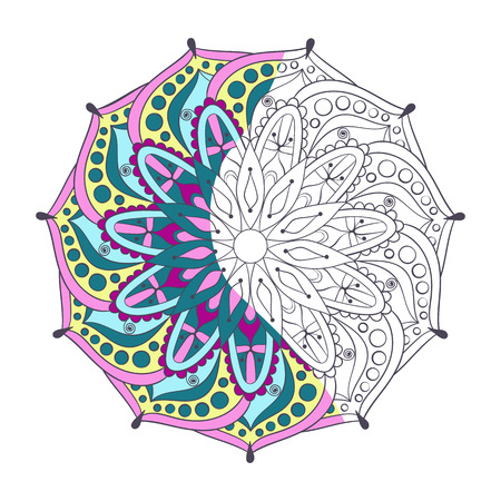 mandala: Zentangle stylized elegant color Indian Mandala for coloring page. Hand drawn vintage Ornament Pattern on white background. Ethnic decorative elements. Yoga spirit.
