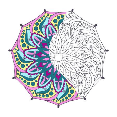 mandala: Zentangle stylized elegant color Indian Mandala for coloring page. Hand drawn vintage Ornament Pattern on white background. Ethnic decorative elements. Yoga spirit.