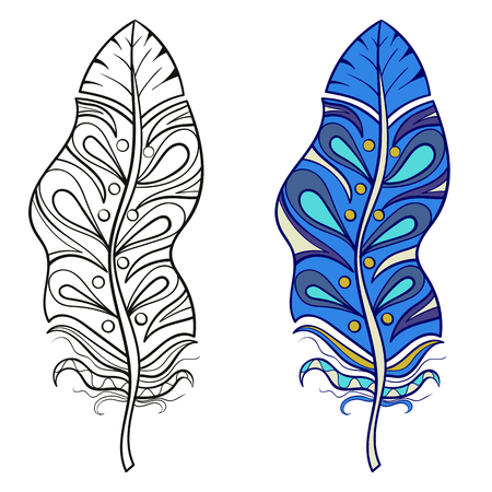 art therapy: Zentangle stylized tribal feather for coloring page. Adult anti-stress art therapy.