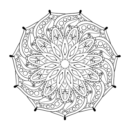 Zentangle stylized elegant round Indian Mandala for adult anti-stress coloring pages. Hand drawn vintage Ornament Pattern on white background. Ethnic decorative elements. Yoga spirit.