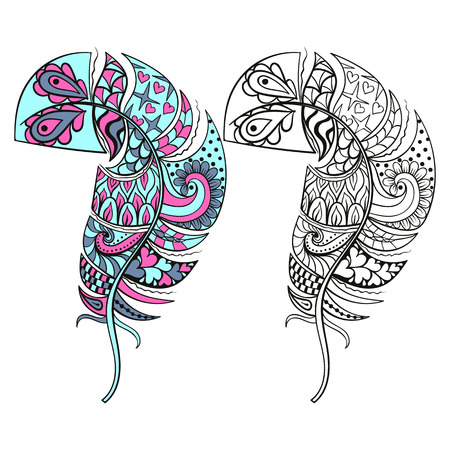 art therapy: Zentangle stylized tribal color and monochrome feathers for coloring books. Adult anti-stress art therapy.