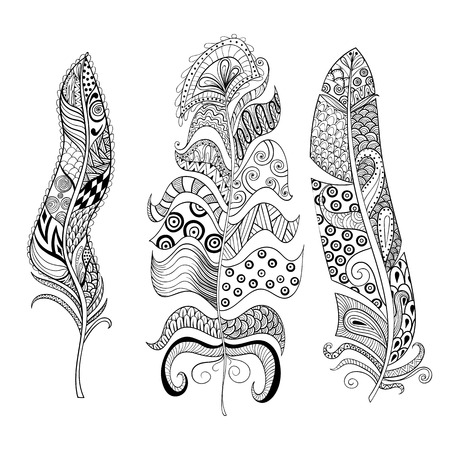 Zentangle stylized elegant feathers set. Hand drawn vintage illustration for adult anti-stress coloring page on white background. Ethnic decorative elements.