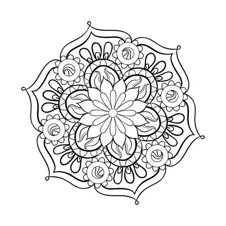 Zentangle stylized elegant black Mandala for coloring page. Hand drawn vintage ornament round Pattern on white background. Ethnic decorative elements. Yoga spirit. Vettoriali