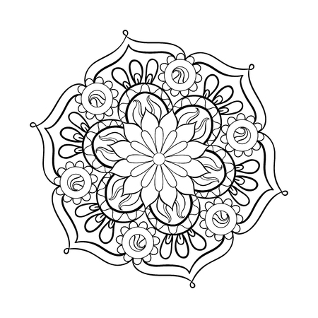 Zentangle stylized elegant black Mandala for coloring page. Hand drawn vintage ornament round Pattern on white background. Ethnic decorative elements. Yoga spirit. Иллюстрация
