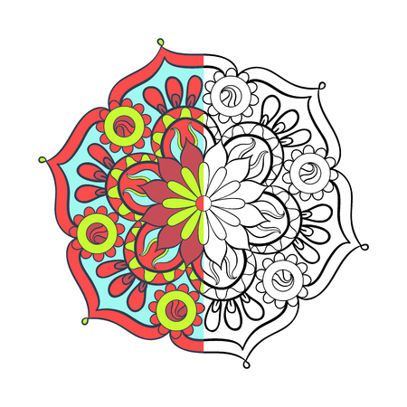 mandala: Zentangle stylized elegant color arabic Mandala for coloring page. Hand drawn vintage ornament round Pattern on white background. Ethnic decorative elements. Yoga spirit. Illustration