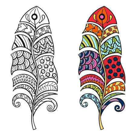 Color y monocromo plumas tribales estilizados Zentangle para colorear página. Arte terapia anti-estrés para adultos. Vectores