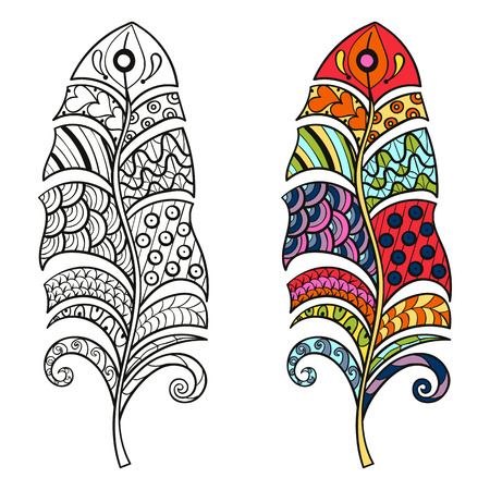 adults: Zentangle stylized tribal color and monochrome feathers for coloring page. Adult anti-stress art therapy.