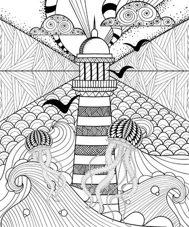 Mano dibujado página para colorear para adultos, artísticamente mar con el faro étnica, las medusas y las nubes con dibujos ornamentales en garabato, estilo tribal zentangle, diseño del tatuaje. ilustración vectorial mar.