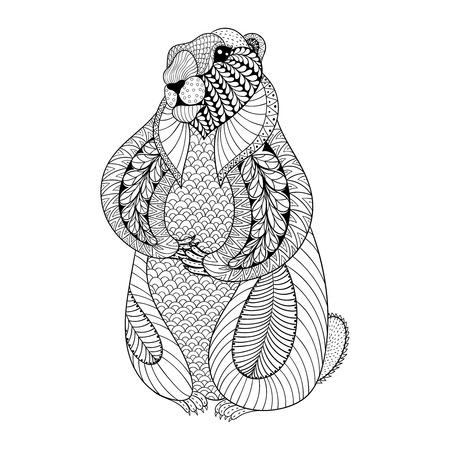 castor: Dibujado a mano de la marmota para colorear páginas para adultos en garabato, estilo tribal zentangle, día de la marmota étnica tatuaje ornamental, modelado camiseta o grabados. ilustración vectorial de los animales. Vectores