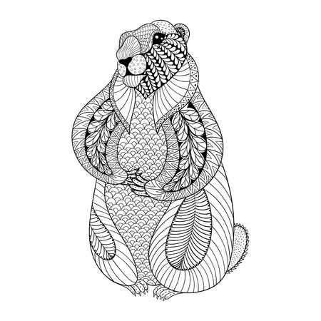 cartoon animal: Hand drawn Groundhog for adult coloring pages in doodle, zentangle tribal style, Groundhog Day ethnic ornamental tattoo, patterned t-shirt or prints. Animal vector illustration.