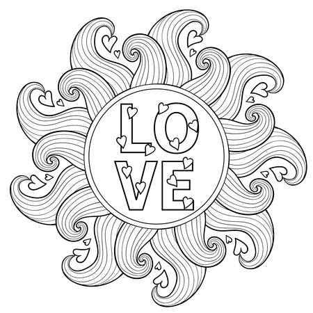 dibujado a mano marco floral para colorear adultos, círculo modelado ornamental artísticamente étnico con elementos románticos del doodle del día de San Valentín, ilustración vectorial zentangle, amor del tatuaje, camiseta o impresiones. Ilustración de vector