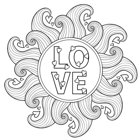 Hand drawn floral frame  for adult coloring pages, artistically ethnic ornamental patterned circle with romantic doodle elements of St. Valentine days, zentangle vector illustration, love tattoo, t-shirt or prints.
