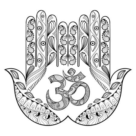 Hand gezeichnet Schutz Hamsa Hand für Erwachsene Malvorlagen in doodle, zentangle Tribal Style, Henna ethnischen Zier Tätowierung mit Ohm-Zeichen, indische Religion Vektor-Illustration für gemusterten T-Shirt oder Drucke.