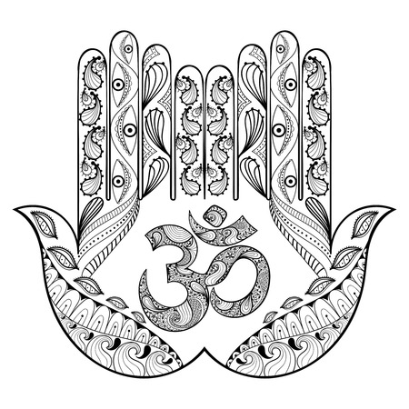 Tiré par la main Hamsa de protection contre les pages adultes colorants dans doodle, style tribal zentangle, henné ethnique tatouage d'ornement avec le signe Ohm, indien illustration de vecteur de la religion à des T-shirt ou gravures à motifs.