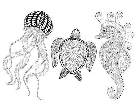 tribales: Dibujado a mano del caballo de mar, medusas y la tortuga por páginas para colorear para adultos en arte del, zentangle estilo tribal, étnica Mehndi tatuaje ornamental, estampados con dibujos de henna. ilustración vectorial Conjunto de animales de mar para colorear Vectores