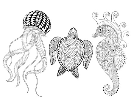 indian summer: Hand drawn Sea Horse, Jellyfish and Turtle for adult coloring pages in doodle, zentangle tribal style,  Mehndi ethnic ornamental tattoo, henna patterned prints. Set sea animal vector illustration for coloring book Illustration