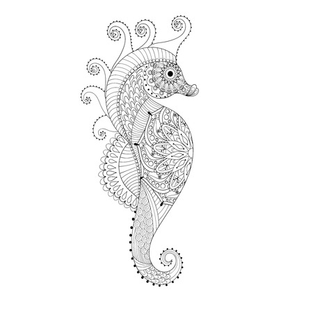 Dibujado a mano del caballo de mar para colorear páginas para adultos en arte del, zentangle estilo tribal, étnica Mehndi tatuaje ornamental, henna con dibujos grabados artísticos. Mar animales ilustración vectorial para colorear