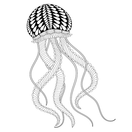 jelly fish: Hand drawn sea Jellyfish for adult coloring pages in Hand drawn sea Jellyfish for adult coloring pages in doodle, zentangle tribal style,  Mehndi ethnic ornamental tattoo, henna patterned prints. Sea animal vector illustration for coloring book Illustration