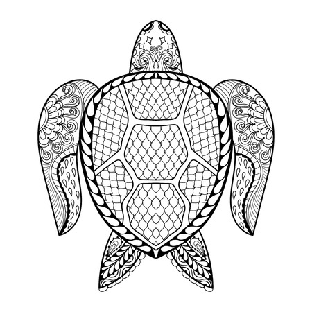 sea shells: Hand drawn sea Turtle mascot for adult coloring pages in doodle, zentangle tribal style,  Mehndi ethnic ornamental tattoo, henna patterned prints. Sea animal vector illustration for coloring book