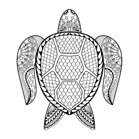 Hand getrokken zeeschildpad mascotte voor volwassen kleurplaten in krabbel, zentangle tribal stijl, Mehndi etnische sier tattoo, henna patroon prints. Zee dier vector illustratie voor kleurboek