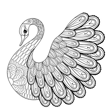 Gráfico de la mano del cisne artístico para adultos páginas para colorear en arte del, zentangle estilo tribal, étnica ornamentales patrón tatuaje, logotipo, camiseta o impresiones. ilustración vectorial de los animales.