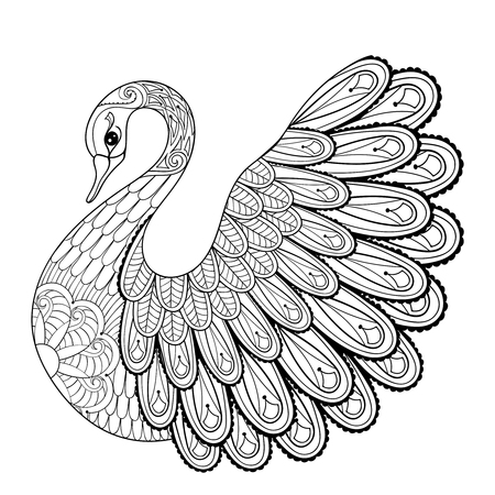 COLOURING: Hand drawing artistic Swan for adult coloring pages in doodle, zentangle tribal style, ethnic ornamental patterned tattoo, logo, t-shirt or prints. Animal vector illustration.