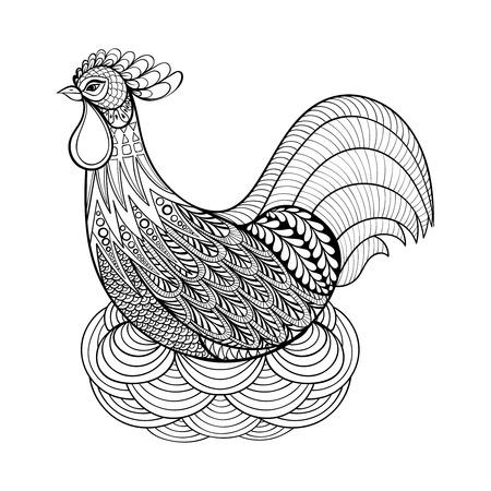 Gráfico de la mano de pollo en el nido para colorear páginas para adultos contra el estrés, artístico nacional granjero de aves en el estilo del zentangle, illustartion dibujos, tatuaje aislado en el fondo blanco. Vector dibujo blanco y negro de aves.
