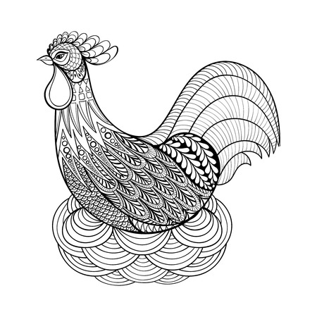 cartoon chicken: Hand drawing Chicken in nest for adult anti stress coloring pages, artistic domestic farmer Bird in zentangle style, patterned illustartion, tattoo isolated on white background. Vector monochrome bird sketch.