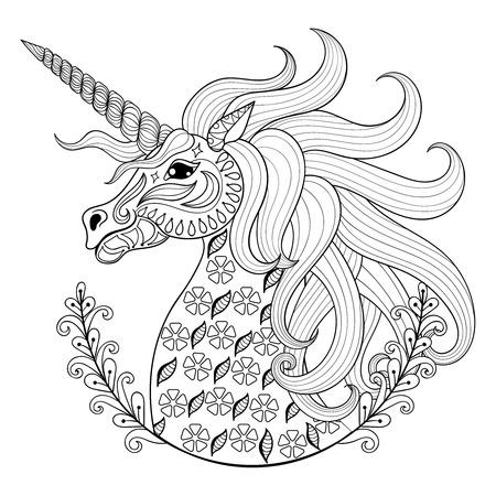 흰색 배경에 고립 된 성인 안티 스트레스 색칠 페이지, zentangle 부족 스타일의 예술 동화 마법의 동물, 패턴 illustartion합니다, 문신 유니콘 그리기 손. 벡