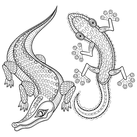 predators: Hand drawn zentangled Crocodile and Lizard for adult coloring pages in doodle, zentangle tribal design style,  Mehndi ethnic ornamental tattoo, artistic henna patterned totem, prints. Animal vector illustration