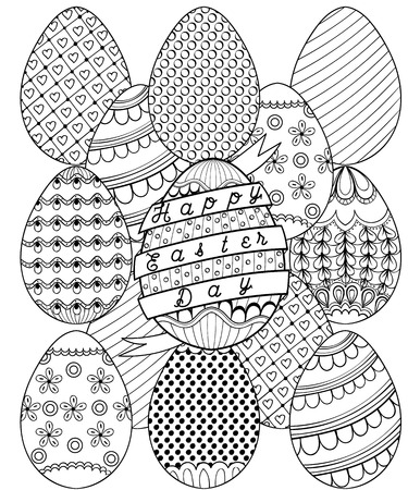Hand Drawn Artistic Easter Eggs Pattern For Adult Coloring Page In Doodle Zentangle Tribal Style
