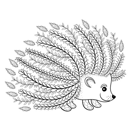 Hand drawn artistic Hedgehog for adult coloring page in doodle, zentangle tribal style, ethnic ornamental patterned tattoo design, logo, t-shirt print, monochrome sketch. Floral animal vector illustration.