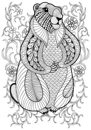 animales silvestres: Dibujado a mano de la marmota artística, la marmota en flores para colorear página tamaño A4 en adultos garabato, el estilo del zentangle, La impresión ornamental étnica modelado, dibujo blanco y negro. ilustración vectorial de impresión floral. Vectores