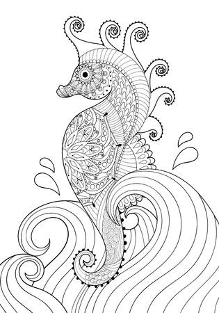 dibujos para colorear: Dibujado a mano del caballo de mar artística en olas para colorear página tamaño A4 en adultos garabato, el estilo del zentangle, imprimir dibujos ornamentales étnica mexicana, dibujo blanco y negro. ilustración vectorial de impresión floral. Vectores