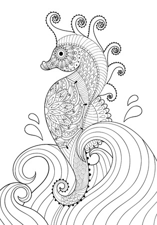 indian summer: Hand drawn artistic Sea horse in waves for adult coloring page A4 size in doodle, zentangle style, Mexican ethnic ornamental patterned print, monochrome sketch. Floral printable vector illustration.