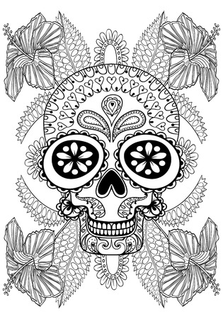 dead animal: Hand drawn artistic Skull in flowers for adult coloring page A4 size in doodle, zentangle style, Mexican ethnic ornamental patterned print, monochrome sketch. Floral printable vector illustration.
