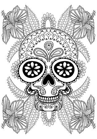 Hand getrokken artistieke Schedel in bloemen voor volwassen kleurplaat A4-formaat in krabbel, zentangle stijl, Mexicaanse etnische sier gevormde druk, zwart-wit schets. Floral afdrukbare vector illustratie.