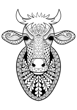 anti stress: Hand drawn Cow head patterned for adult anti stress coloring page A4 size in doodle, zentangle style, ethnic ornamental patterned print, monochrome sketch. Floral printable vector illustration. Illustration